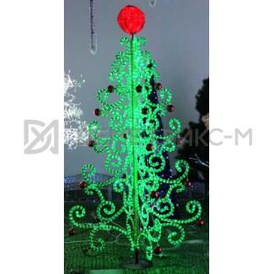 Елка с Красными Шарами светодиодная 1,05х1,05х2,05 м, 2257 LED, 220V