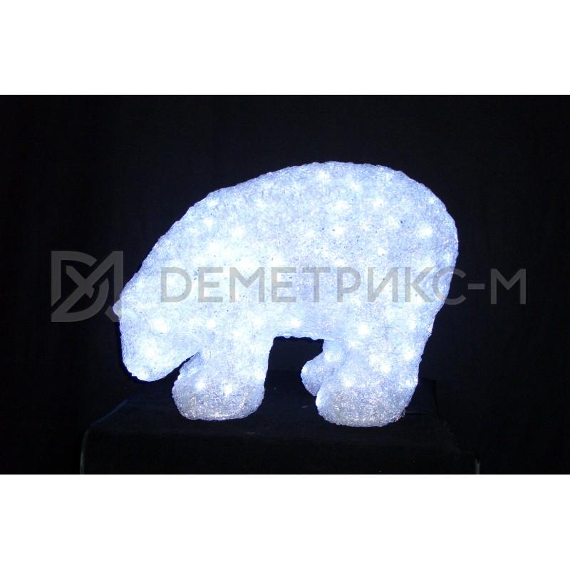 Медведь 3D белый, 752 светодиода, 40х55 см, 24V/30W с трансформатором