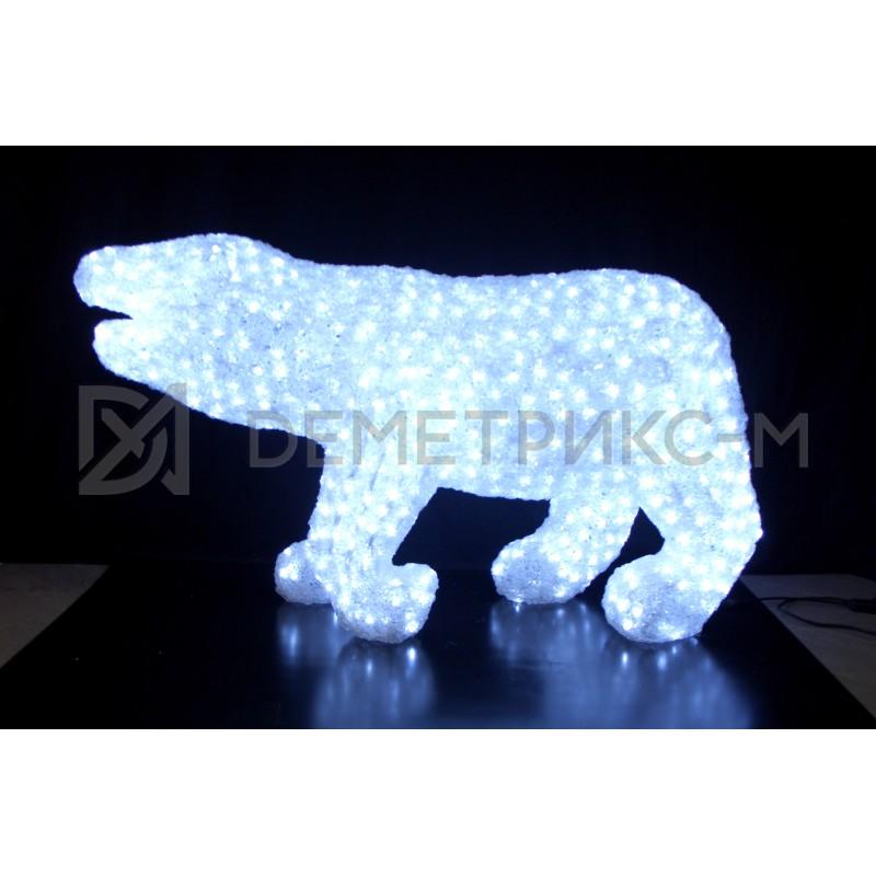 Медведь 3D белый, 1416 светодиодов, 70х125 см, 24V/80W с трансформатором