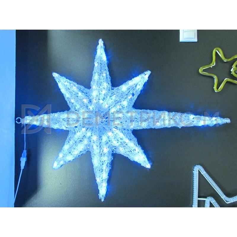 Звезда 3D Сине-Белая, 100 светодиодов, 100х80х15 см, потребляемая мощность 9 Вт