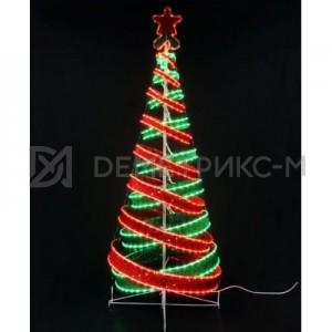 Световая Ель 3D 1,8 м, красно-зеленая с мишурой и подсветкой
