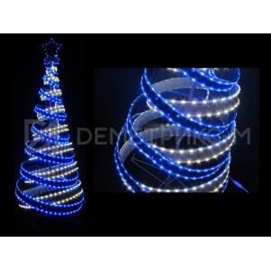 Световая Ель 3D 1,8 м бело-синяя, с мишурой и подсветкой