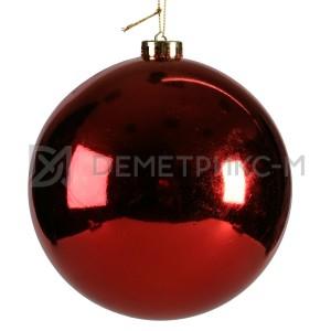 Шар ёлочный 20 см Красный пластиковый глянцевый