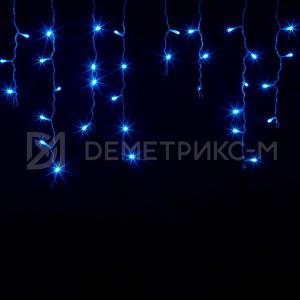 Бахрома Синего цвета, Флеш, Белый провод, 2х0,6 м