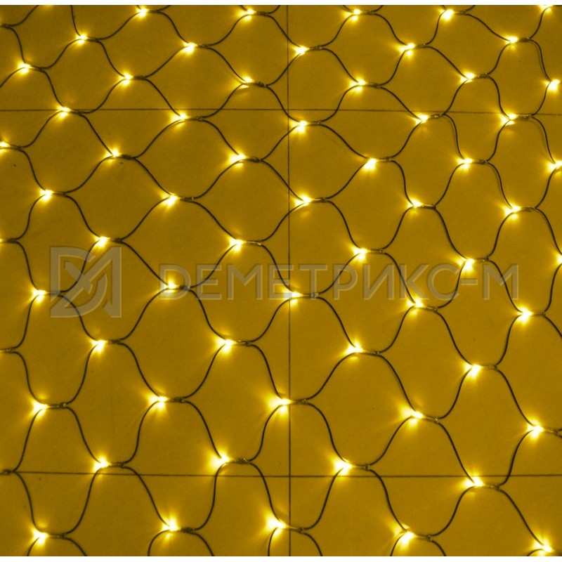 Светодиодная сеть 2х3 м (желтая), фиксинг, 432 светодиодов