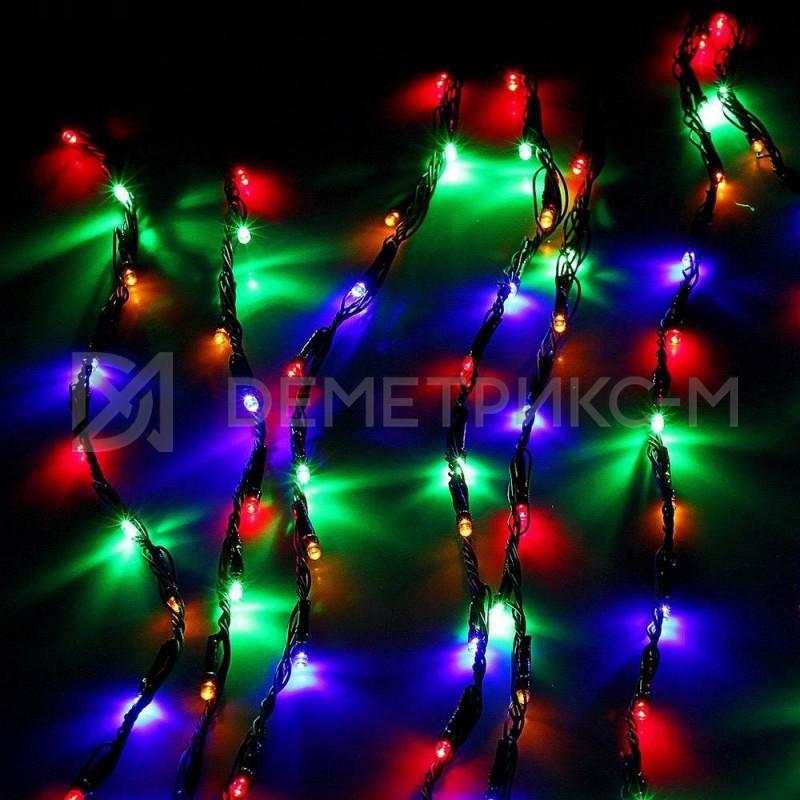 Светодиодный дождь RGB (Мульти) 8 режимов свечения Белый провод