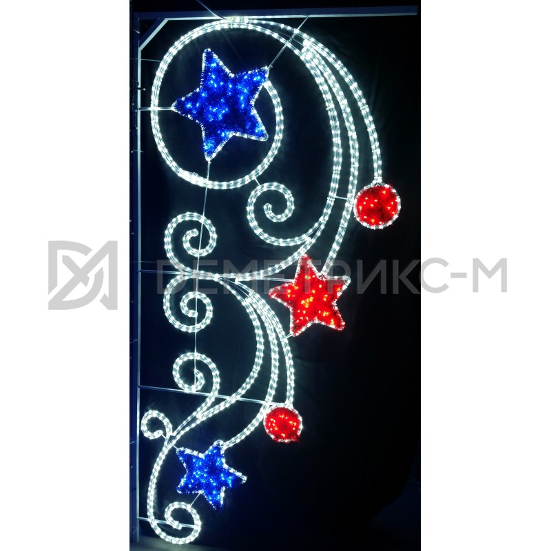 """Консоль подвесная """"2 красных шара, синие и красные звезды"""", цвет Синий, белый и красный, размер 2х0,9м, 77Вт"""