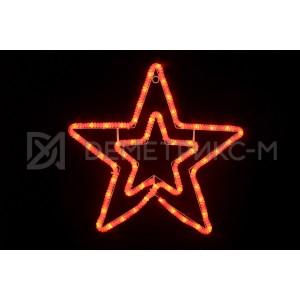 Звезда из дюралайта Красная 55х54 см, фиксинг, 60 LED, 5 Вт, 220V, IP65