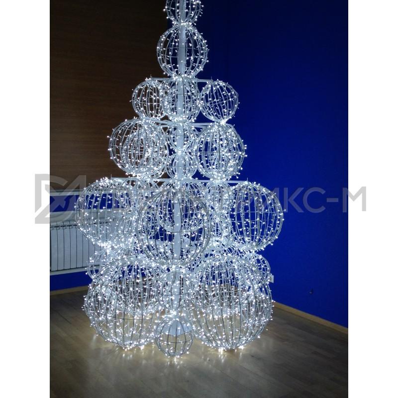 Дерево из Шаров светодиодное белое 2,0х2,0х3,0 м, напряжение 220V