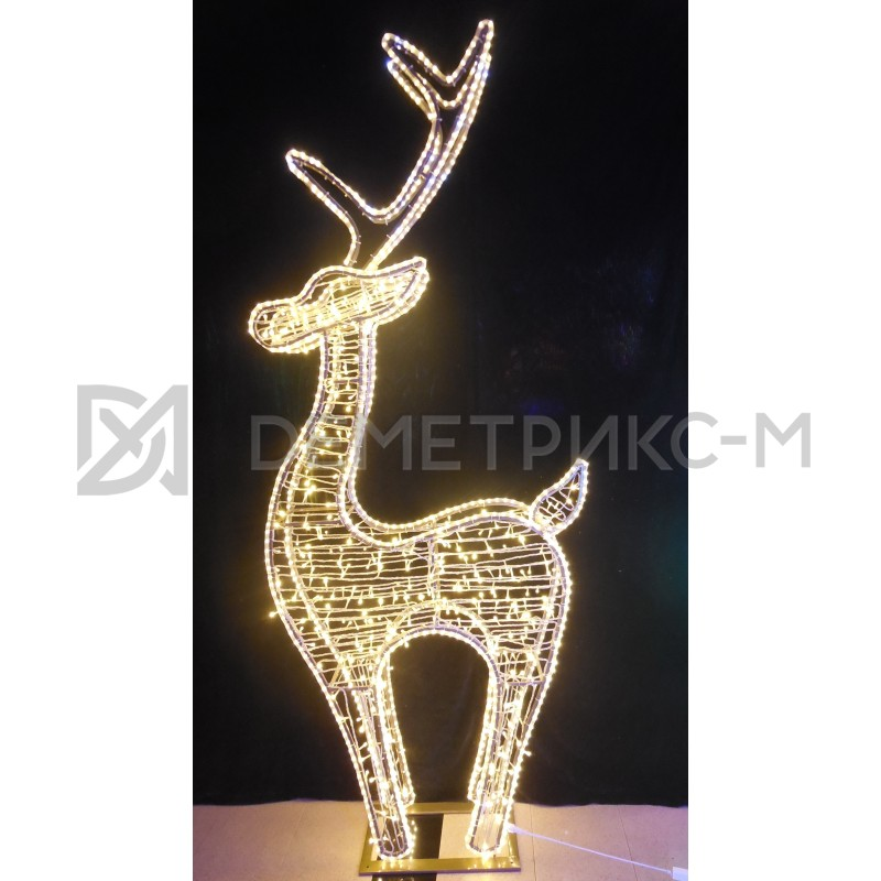 Олень 3D белый-теплый со светодиодной подсветкой, 250 см, 24V/60W