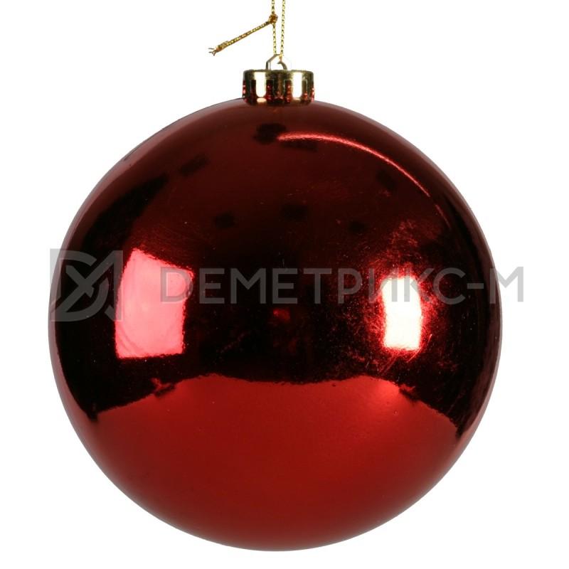 Шар ёлочный 15 см Красный пластиковый глянцевый