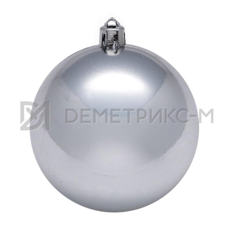 Шар ёлочный 50 см Серебряный пластиковый глянцевый
