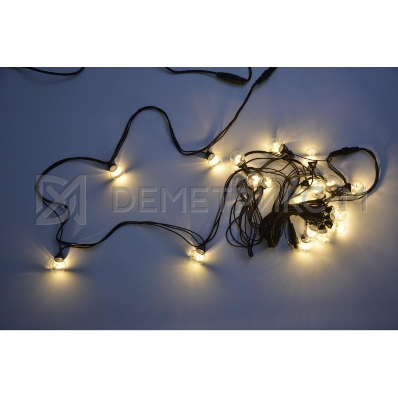 Белт Лайт 10 м Теплый Белый, готовый комплект, Черный шнур, 20 ламп