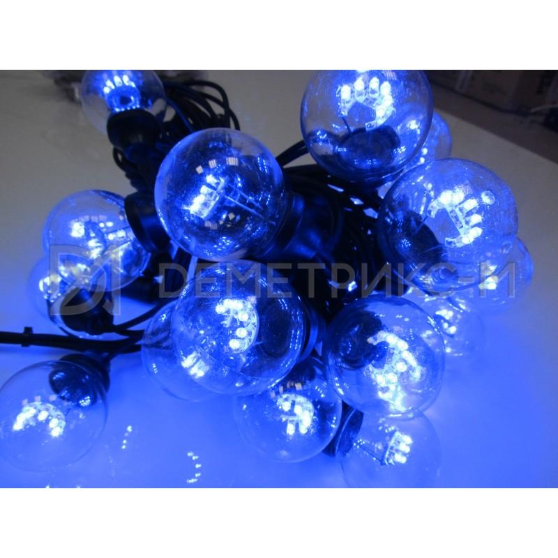 Белт Лайт 10 м Синий, готовый комплект, Черный шнур, 20 Ламп