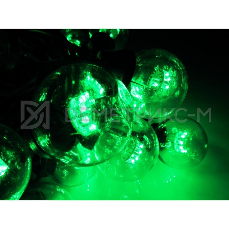 Белт Лайт 10 м Зеленый, готовый комплект, Черный шнур, 20 ламп