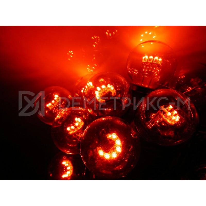 Белт Лайт 10 м Красный, готовый комплект, Черный шнур, 25 ламп