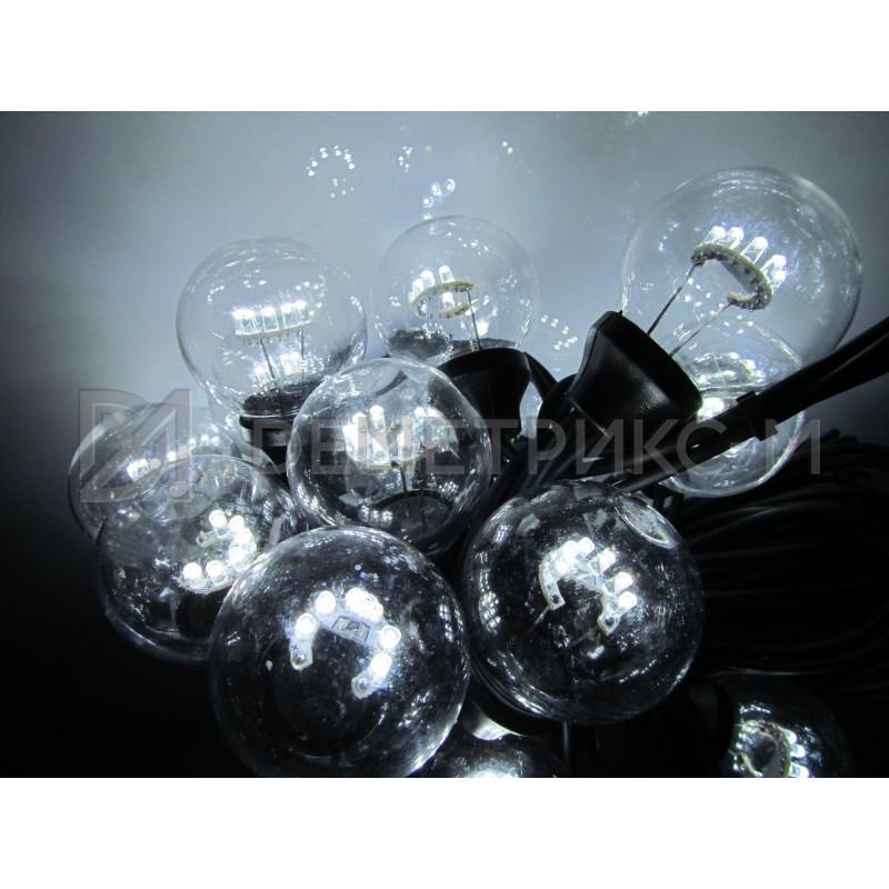Белт Лайт 10 м Белый, готовый комплект, Черный шнур, 25 ламп
