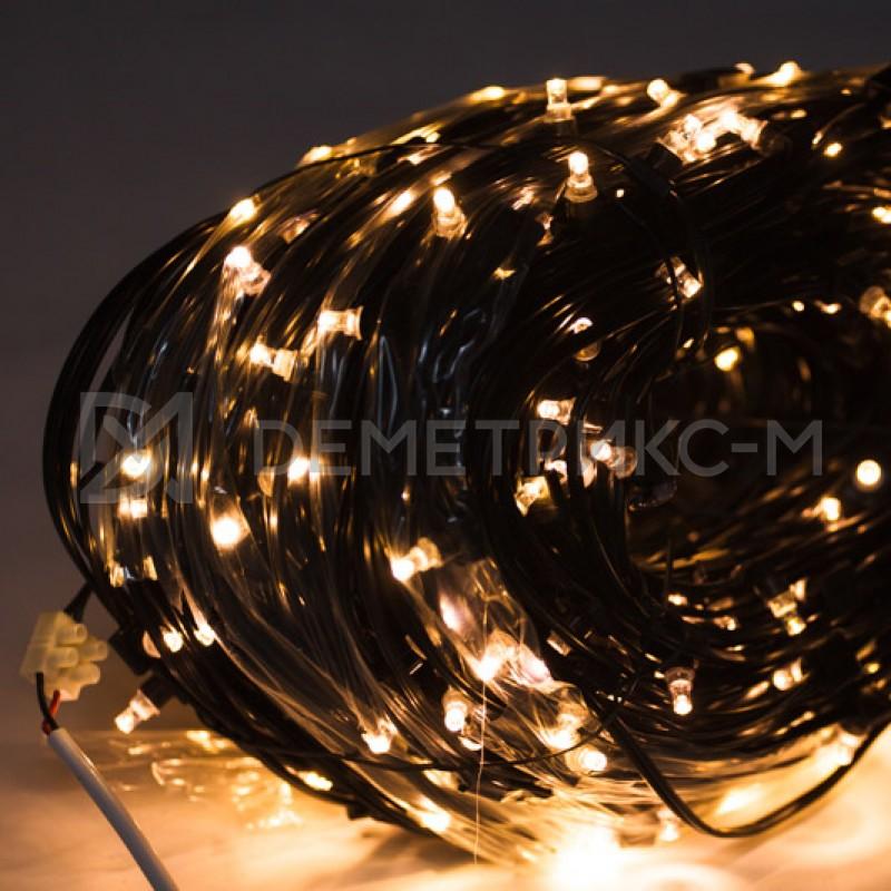Клип лайт Белый теплый Фиксинг, Черный провод, 333 LED, бухта 100 м,12V/20W