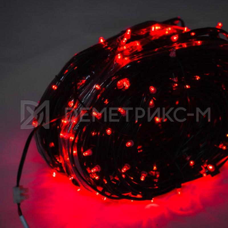 Клип лайт Красный Флеш, Прозрачный провод, 333 LED, бухта 100 м,12V/20W