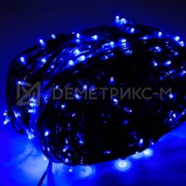 Клип лайт Синий Флеш, Прозрачный провод, 666 LED, бухта 100 м,12V/20W