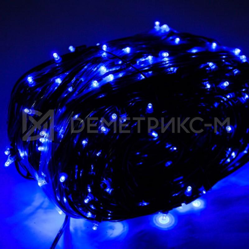 Клип лайт Синий Флеш, Прозрачный провод, 333 LED, бухта 100 м,12V/20W