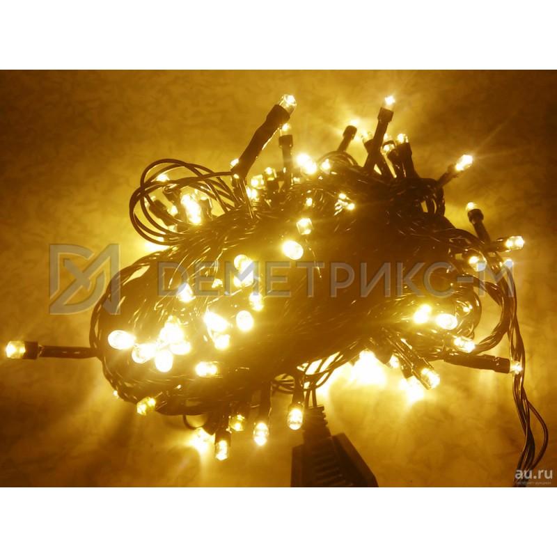 Гирлянда LED Белый теплый цвет, 10 м, 100 LED, 8,8 Вт