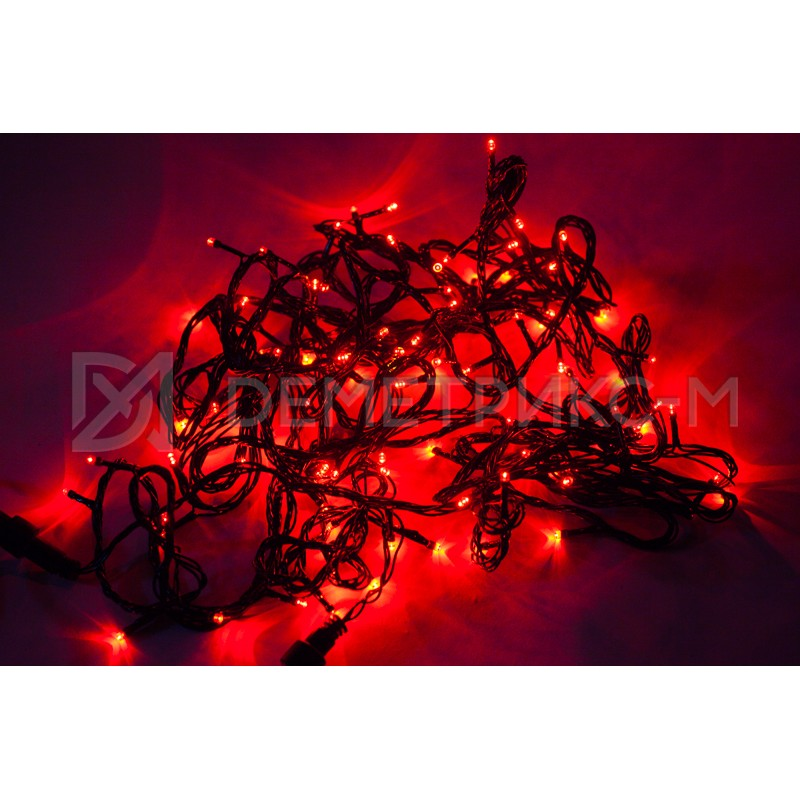 Гирлянда LED красного цвета, 10 м, 100 LED, 8,8 Вт