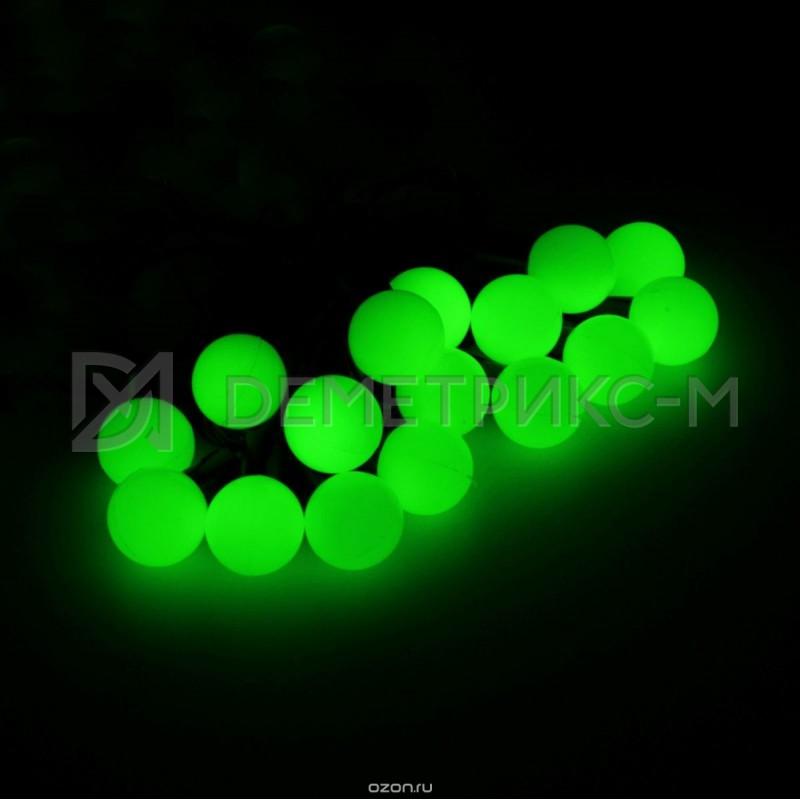 """Гирлянда LED """"Шарики """" Зеленый цвет, 10 м, 45мм, 50 LED, 10 Вт, IP65, Черный провод ПВХ"""