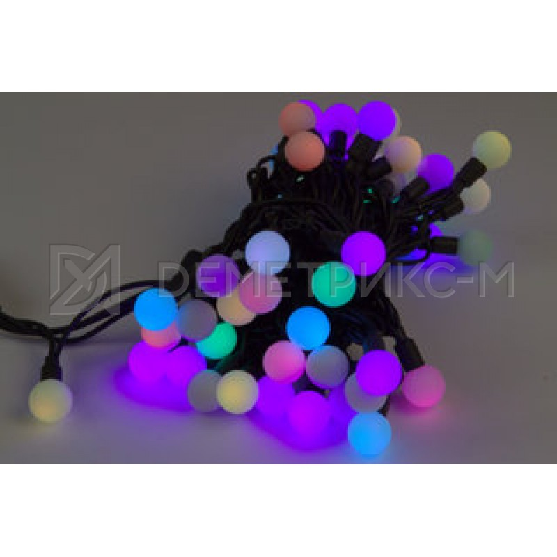 """Гирлянда """"Мультишарики"""" Медленная смена, 10 м, 23мм, 100 LED, 6 Вт, IP65, Черный провод Каучук"""