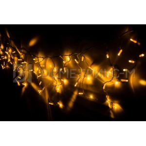 Бахрома 3,3х0,8 м Желтого цвета, 8 режимов свечения, Черный провод,