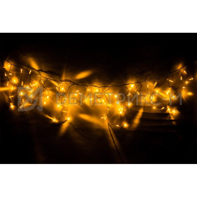 Бахрома Желтого цвета, Флеш, Черный провод, 3,3х0,8 м