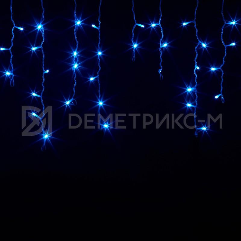 Бахрома 2х0,6 м Синего цвета, Фиксинг, Черный провод,