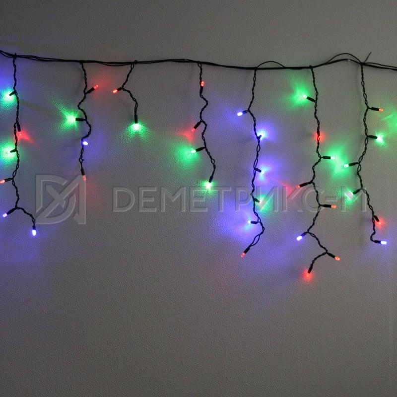 Бахрома 1,8х0,5 м RGBY (Мульти) цвета, 8 режимов свечения, Прозрачный провод,