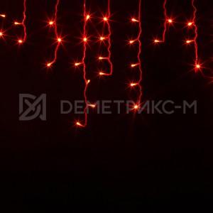 Бахрома 2х0,6 м Красного цвета, Фиксинг, Белый провод,