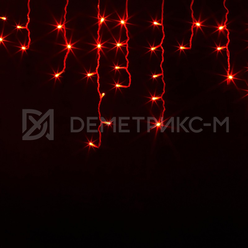 Бахрома 2х0,6 м Красного цвета, Фиксинг, Черный провод,