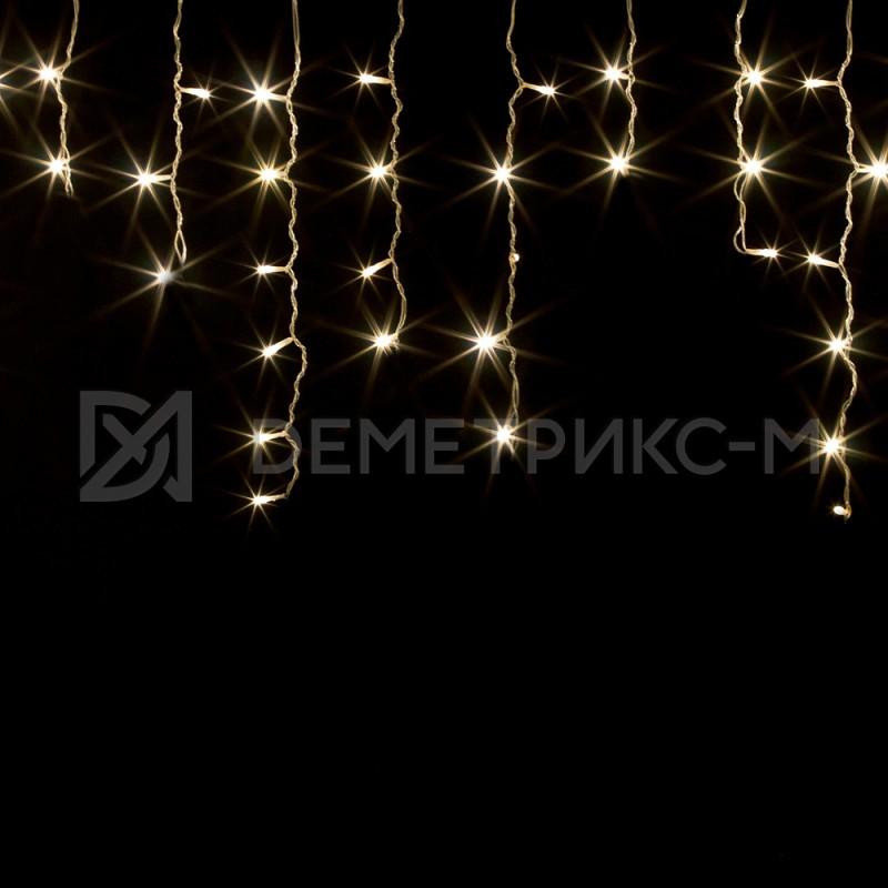Бахрома 1,8х0,5 м Белого теплого цвета, 8 режимов свечения, Прозрачный провод,