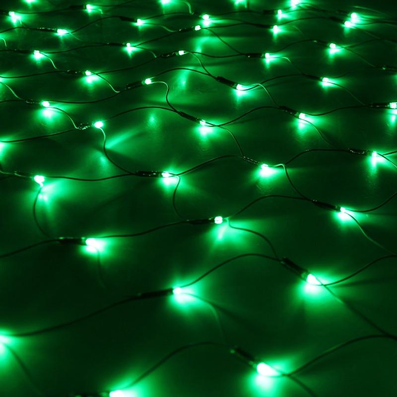 Светодиодная сеть 2х1,5 м (зеленая), фиксинг, 288 светодиодов