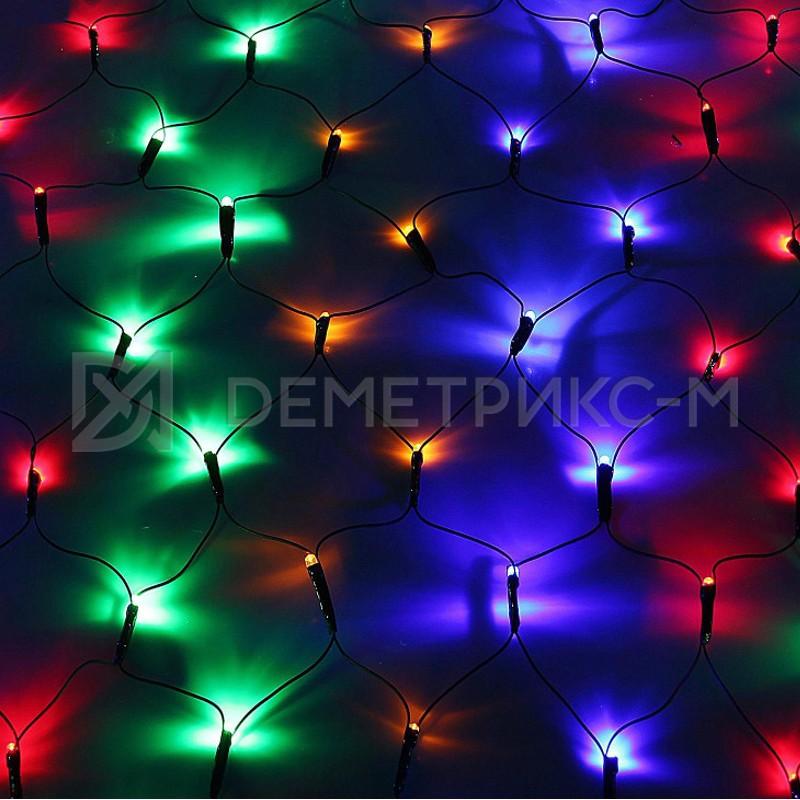 Светодиодная сеть 2х1,5 м (многоцветная), фиксинг, 288 светодиодов