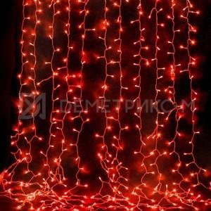 Дождь Красный 2 х 1,5 м, С контроллером (8 режимов свечения), Белый провод