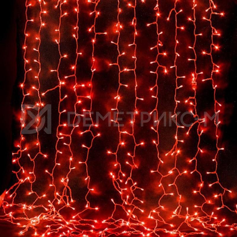 Светодиодный дождь Красный 2*6  8 режимов свечения Черный провод
