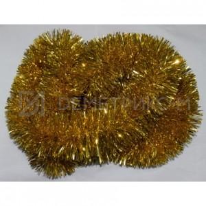 Мишура новогодняя Золото d=10см длина 2м