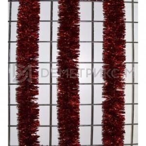 Мишура новогодняя Красная d=10см длина 2м