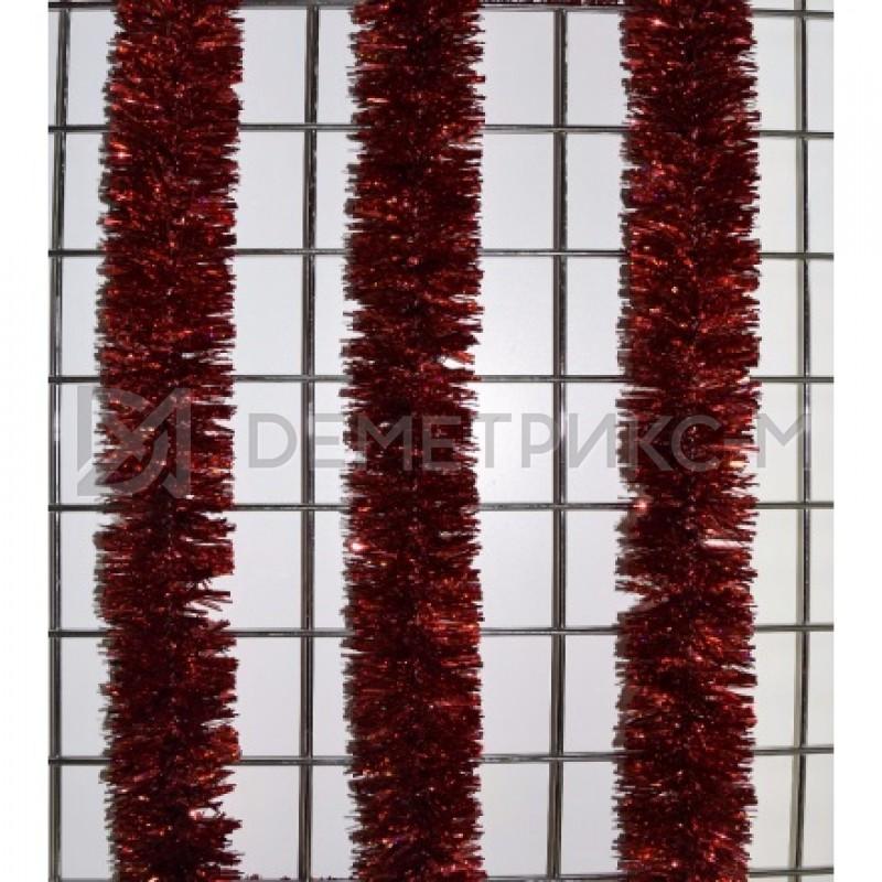 Мишура новогодняя Красная d=7см длина 2м