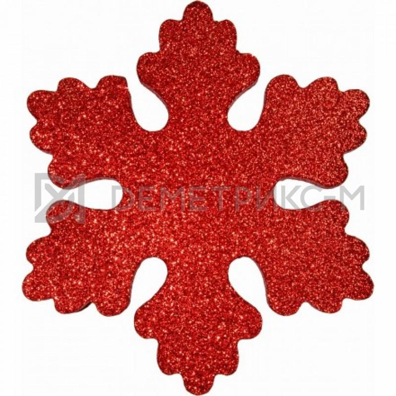 Снежинка Искра 12 см красная